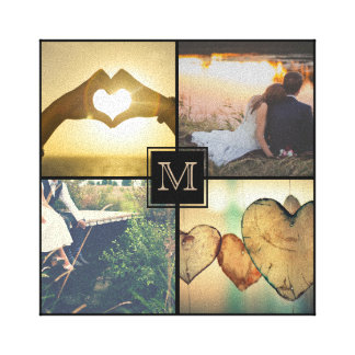 Modern Personalized Monogramed Photo Canvas Print