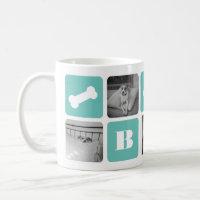 Modern Pet Monogram Photo Collage Coffee Mug