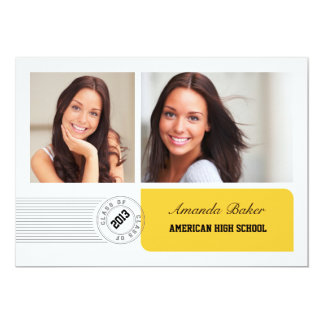 Modern Photo and Stamp Graduation Announcement