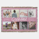 Modern Photo Blanket for Grandma   Pink and White