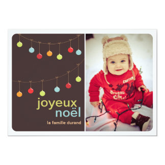 Modern photo chart of Merry Christmas of ornaments Card