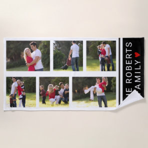 Modern photo collage with six photos beach towel