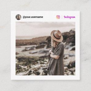 Modern photo Instagram social media minimal white Calling Card