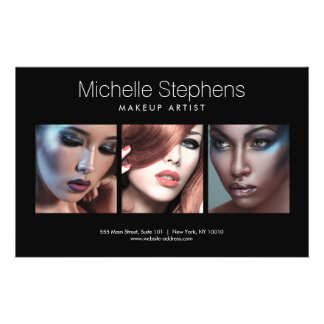 Modern Photo Trio for Makeup Artists Black 14 Cm X 21.5 Cm Flyer