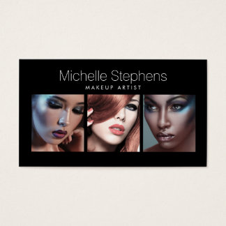Modern Photo Trio for Makeup Artists Black Business Card
