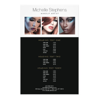 Modern Photo Trio for Makeup Artists Price List 14 Cm X 21.5 Cm Flyer