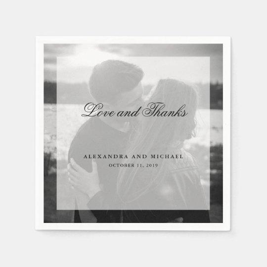 Modern Photo with Overlay | Wedding Love Disposable Napkin