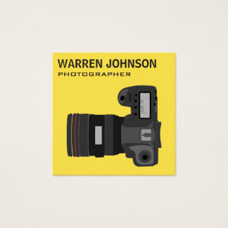 Modern Photographer QR Code Square Business Card