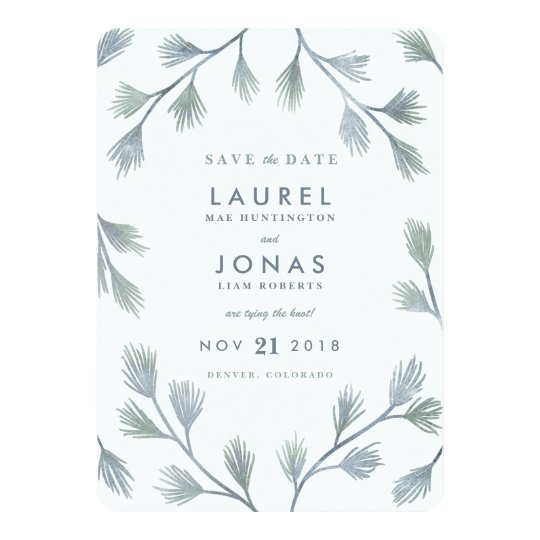 Modern Pine Green + White Save the Date