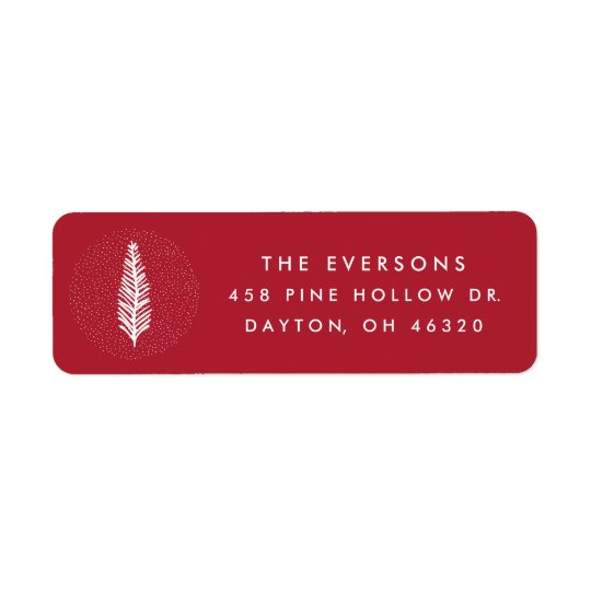 Modern Pine Sprig   Red   Return Address Label
