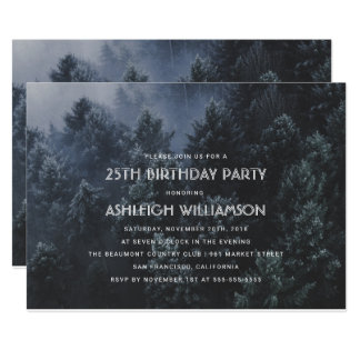 Modern Pine Tree Forest Birthday Party Card