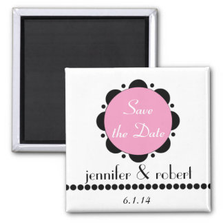 Modern Pink Abstract Daisy Save the Date Magnet