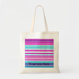 Modern pink and baby blue stripes budget tote bag