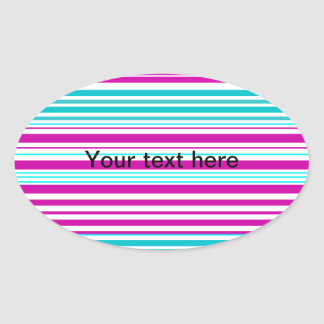 Modern pink and baby blue stripes oval sticker