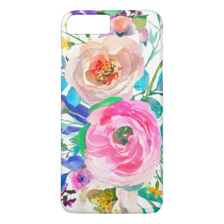 Modern Pink And Beige Flowers iPhone 8 Plus/7 Plus Case