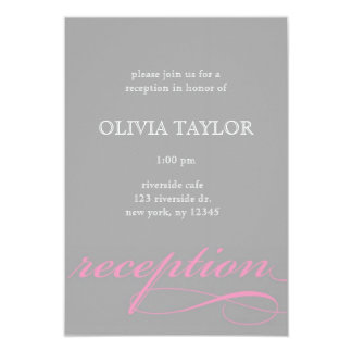 Modern Pink and Gray Reception Card 9 Cm X 13 Cm Invitation Card