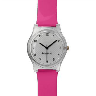 Modern pink and grey polka dots custom girls watch
