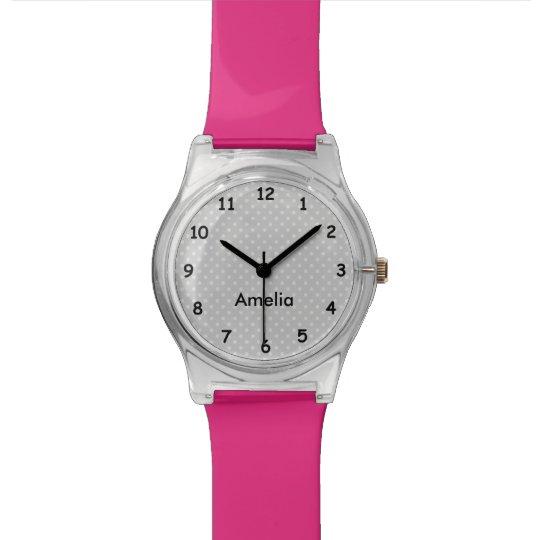 Modern pink and grey polka dots custom girls