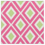 Modern Pink and Lime Green Ikat Pattern Fabric