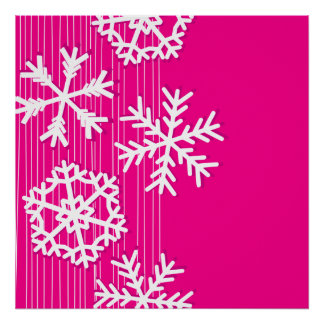 Modern pink and white Christmas snowflakes Posters