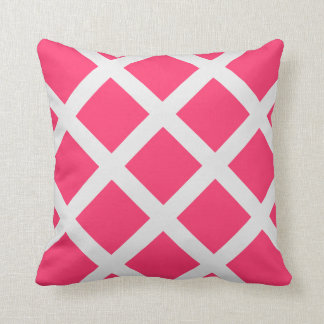 Modern Pink and White Criss Cross Stripes Throw Pillows