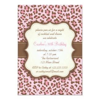 Modern Pink Animal Print Girly Birthday Party 13 Cm X 18 Cm Invitation Card