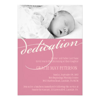 Modern Pink Baby Girl Dedication Invitation