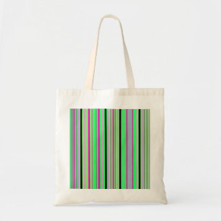 Modern pink black and bright green stripes canvas bags