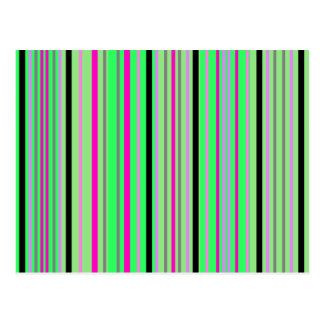 Modern pink black and bright green stripes postcard