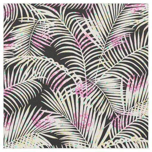 Modern pink black white tropical palm tree floral