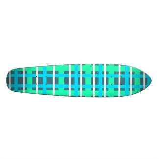 Modern pink blue and green plaid 21.3 cm mini skateboard deck
