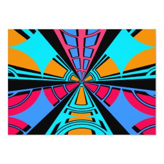 Modern pink blue semi-circle design 13 cm x 18 cm invitation card