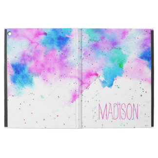 "Modern pink blue watercolor brushstrokes splatters iPad pro 12.9"" case"