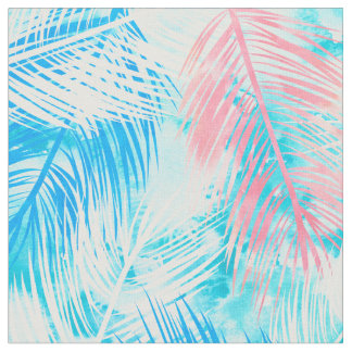 Modern pink blue watercolor palm tree pattern fabric