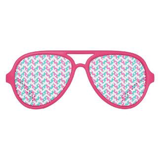 Modern Pink Blue White Chic Chevron Pattern Aviator Sunglasses