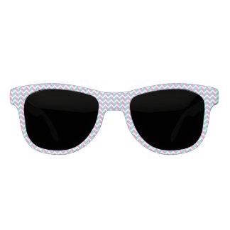 Modern Pink Blue White Chic Chevron Pattern Sunglasses