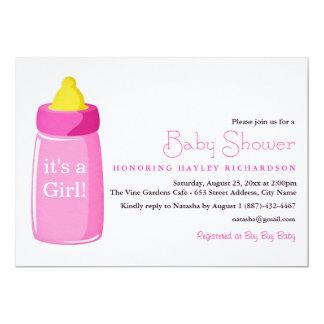 "Modern Pink Bottle Baby Shower Invitation 5"" X 7"" Invitation Card"