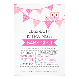 Modern Pink Bunting Owl GIRL Baby Shower Custom Invitation