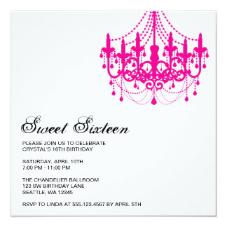 Modern Pink Chandelier Sweet Sixteen Birthday 13 Cm X 13 Cm Square Invitation Card