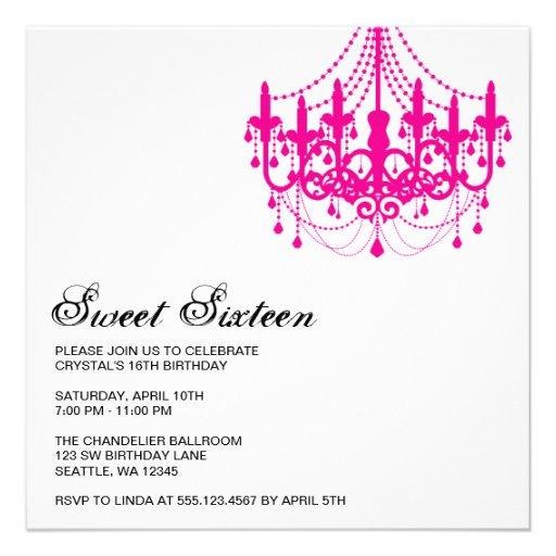 Modern Pink Chandelier Sweet Sixteen Birthday Custom Invitation