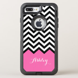 Modern Pink Chevron Pattern Girly Monogram Name OtterBox Defender iPhone 7 Plus Case