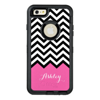 Modern Pink Chevron Pattern Girly Monogram Name OtterBox iPhone 6/6s Plus Case