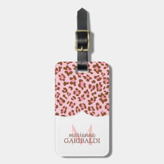 Modern Pink Choco Animal Print Girly Personalized Luggage Tag