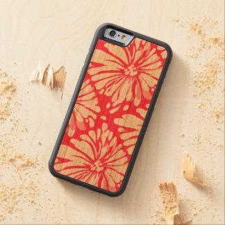 Modern Pink Chrysanthemum on Wood Cherry iPhone 6 Bumper