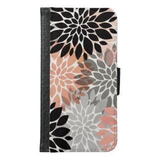 Modern pink coral black trendy floral pattern samsung galaxy s6 wallet case