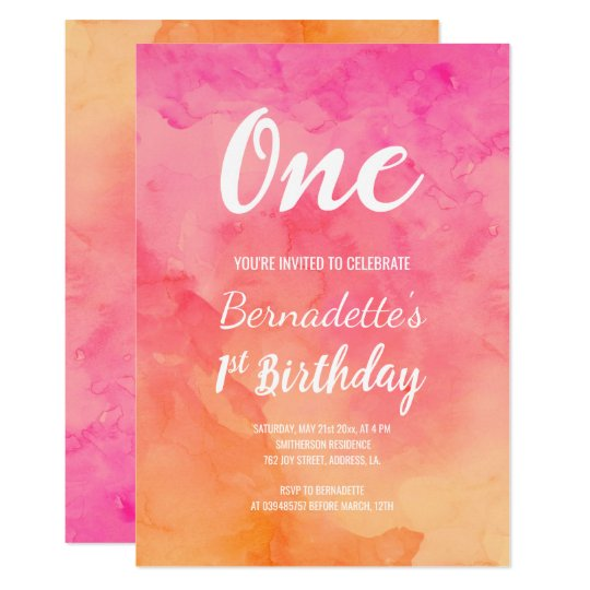 Modern pink coral watercolor ombre first Birthday Card