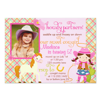 Modern Pink Cowgirl Little Horse Cute Photo Party 13 Cm X 18 Cm Invitation Card
