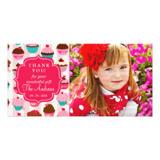 Modern Pink Cupcakes Any Occasion Thank You Personalised Photo Card