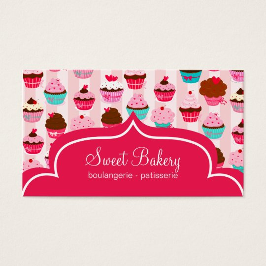 Modern Pink Cupcakes Bakery Business Card