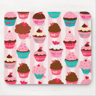 Modern Pink Cupcakes Girly Mouse Mat